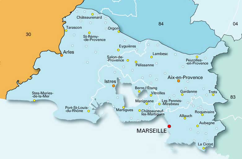 Carte des bouches du rh ne for Marseille bdr