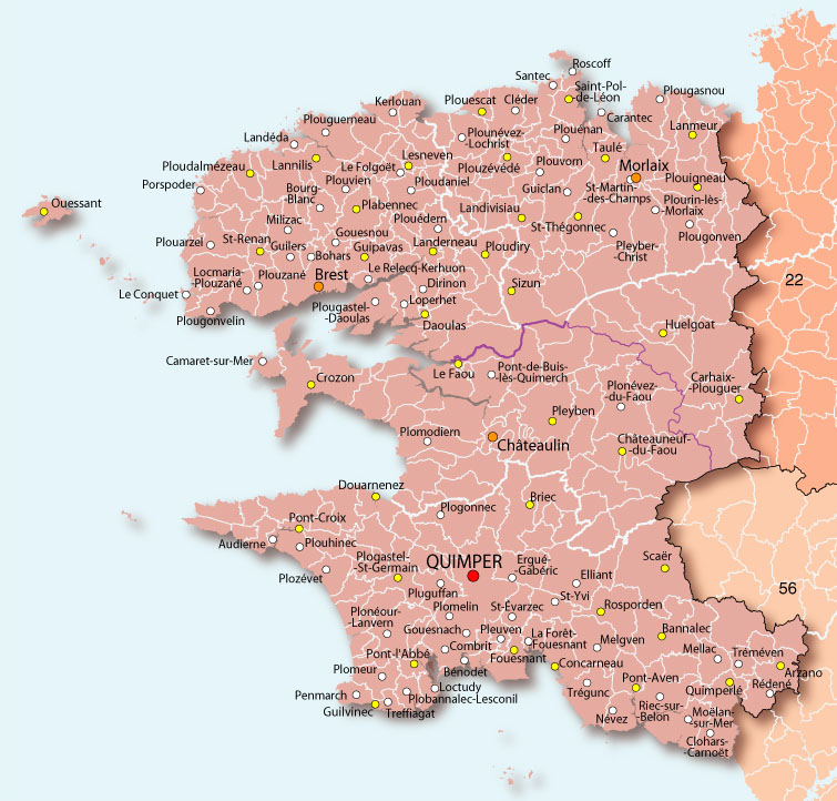 carte du finistere - Photo