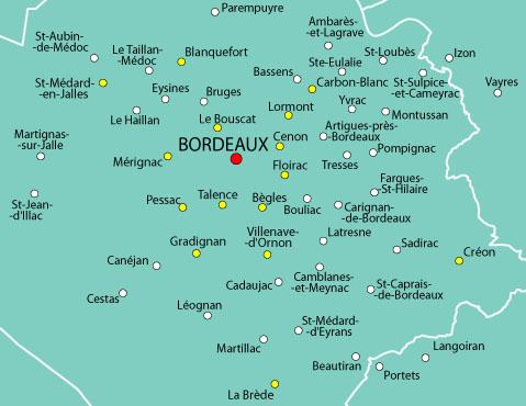 carte bordeaux et environs Le SPLAF   Carte de la Gironde (environs de Bordeaux)