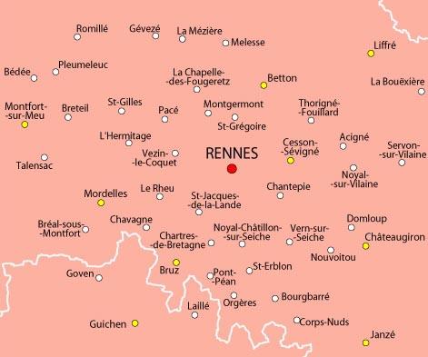 carte rennes et alentours Le SPLAF   Carte d'Ille et Vilaine (environs de Rennes)