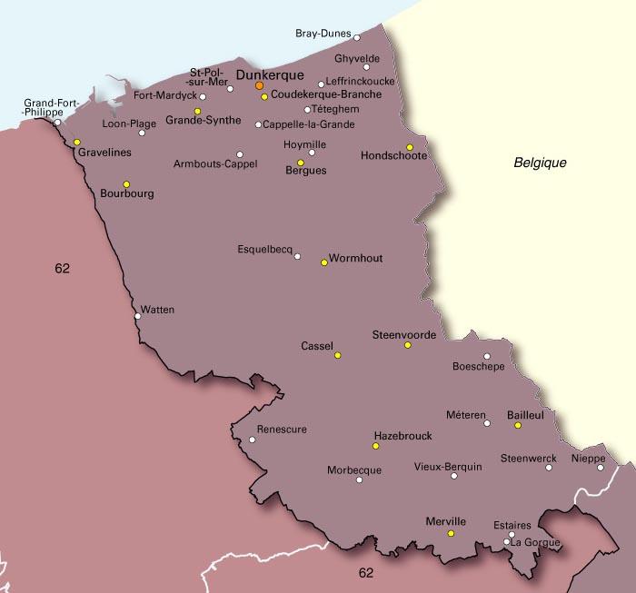 Carte du Nord (environs de Dunkerque)
