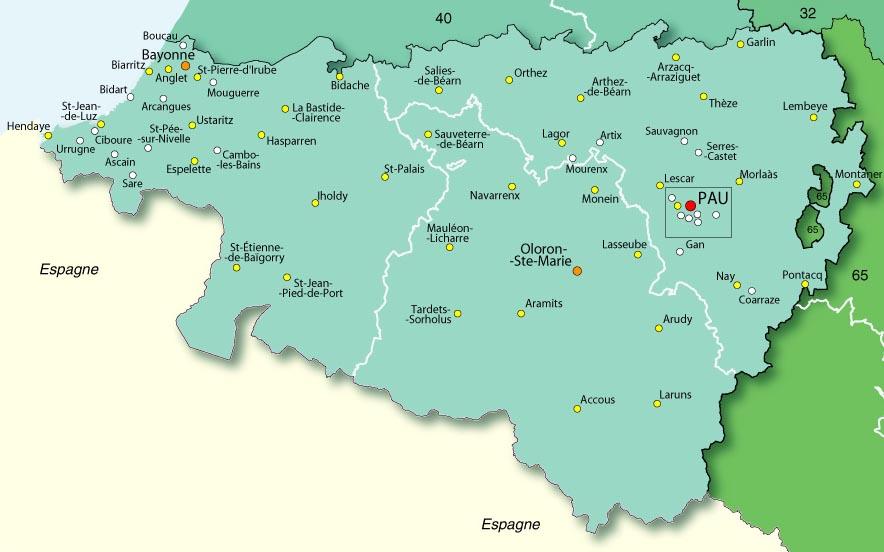 Carte des Pyrénées Atlantiques