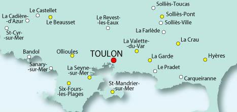 carte toulon et environs Le SPLAF   Carte du Var (environs de Toulon)