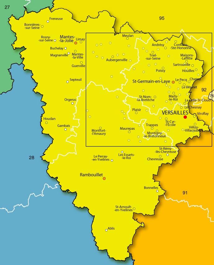 Le splaf carte des yvelines for Villes des yvelines